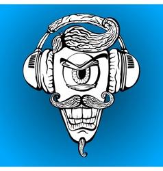Cyclops with headphones listening to music vector