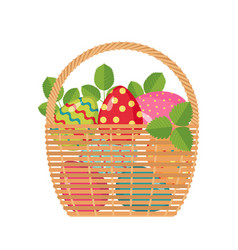 easter icon with basket full of colored eggs vector image vector image