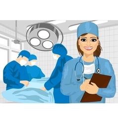 Female surgical nurse in operating room vector