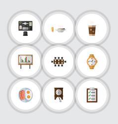 Flat icon oneday set of whiteboard cappuccino vector