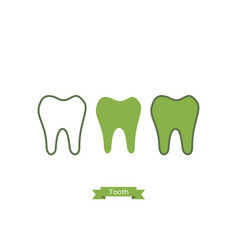 Flat tooth icon - cartoon outline style vector