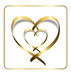 Gold heart ribbon 2 vector