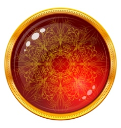 Golden button with patterned red gem vector