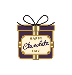 Happy chocolate day greeting emblem vector