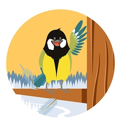 Happy Titmouse on the Tree winter flat background vector image