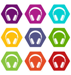 headphones icon set color hexahedron vector image