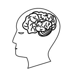 human head brain creativity outline vector image