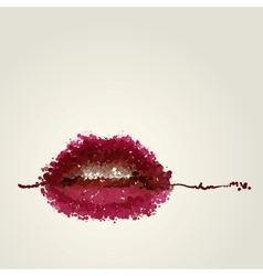 Juicy female lips of blots vector image vector image