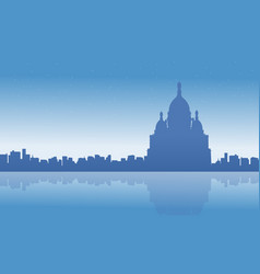 Landscape of france city skyline silhouettes vector