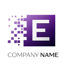 Letter e logo symbol in the colorful square with vector