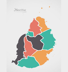 Mauritius map with states and modern round shapes vector
