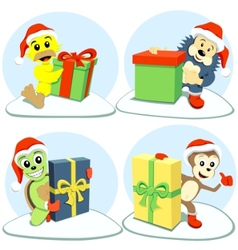 merry christmas cartoon animals vector image vector image