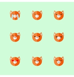 minimalistic flat fox emotions icon set vector image vector image