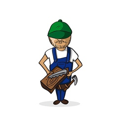 Profession carpenter man cartoon figure vector image