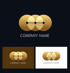 round connect golden technology logo vector image