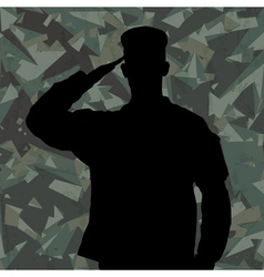 Saluting soldier on green army background vector