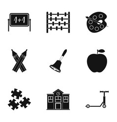 School time icons set simple style vector