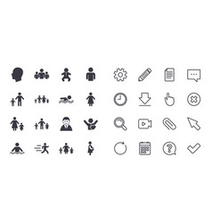 Set of people and family icons swimming pool vector