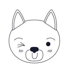Sketch silhouette caricature face of cat wink eye vector