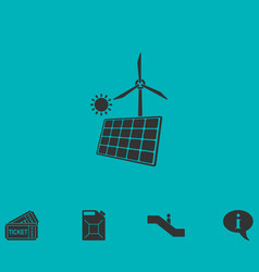 Solar panel and windmills for energy icon flat vector