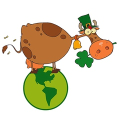 St Patricks day Cow cartoon vector image vector image