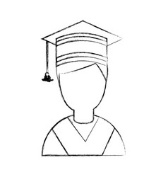 Student graduated with hat avatar character vector
