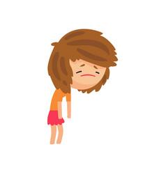 unhappy sick girl cartoon character vector image