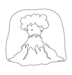 Volcano eruption icon in outline style isolated on vector