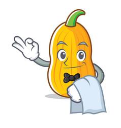 Waiter butternut squash mascot cartoon vector