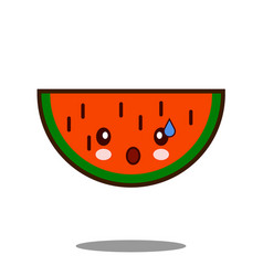 water melon apple fruit cartoon character icon vector image vector image