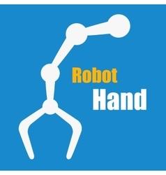 White robot hand on blue vector