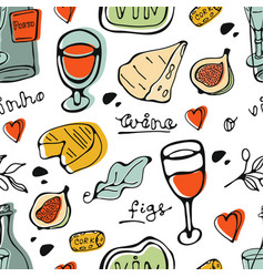 wine collection pattern hand drawn seamless vector image