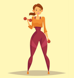 Woman or girl holding weight or barbell vector