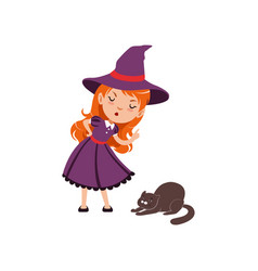 Young angry red-haired girl witch wearing purple vector