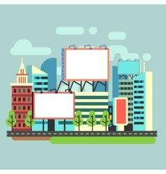 Urban empty advertisement billboards in flat city vector