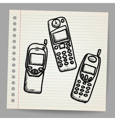 Old mobile phone set vector