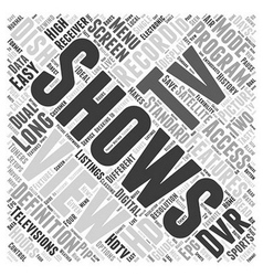 Dish network satellite receiver word cloud concept vector