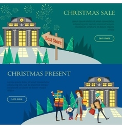 Christmas sale and present web banners best store vector