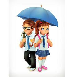Boy and girl under an umbrella pupils cartoon vector