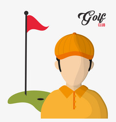 golf club player red flag hole in one vector image
