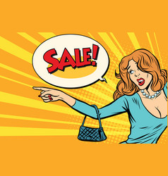 the woman indicates sales vector image