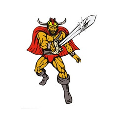 Cartoon viking super hero with sword vector
