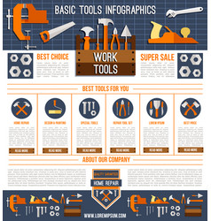 Landing page template for repair work tools vector