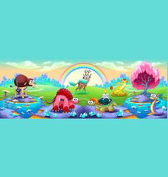 Fantasy animals in a landscape of dreams vector