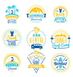 Set of summer sale promotional emblem design vector