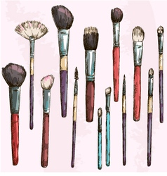Make up brushes collection fashion vector