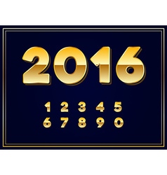 2016 sign in gold in vector