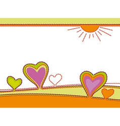 embroidery of hearts abstract landscape vector image