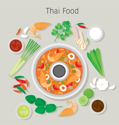 Tom yum kung and ingredients vector