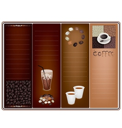 A Coffee Brochure Template on Brown Background vector image